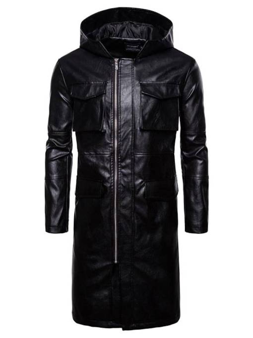 Windproof Faux Leather Long Pattern Men's Trench Coat