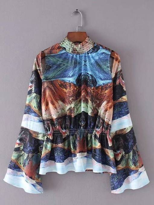 Vintage Lace Patchwork High Collar Bell Sleeve Women's Blouse