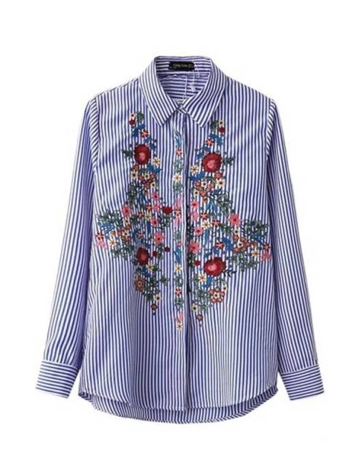 Embroidery Stripe Single-Breasted Women's Shirt