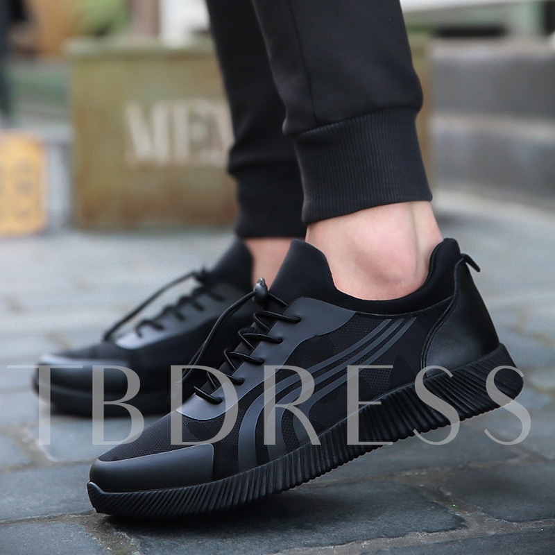 Buy Round Toe Lace-Up Stripe Patchwork Stylish Men's Skateboard Shoes, Spring,Summer,Fall,Winter, 13358365 for $32.99 in TBDress store