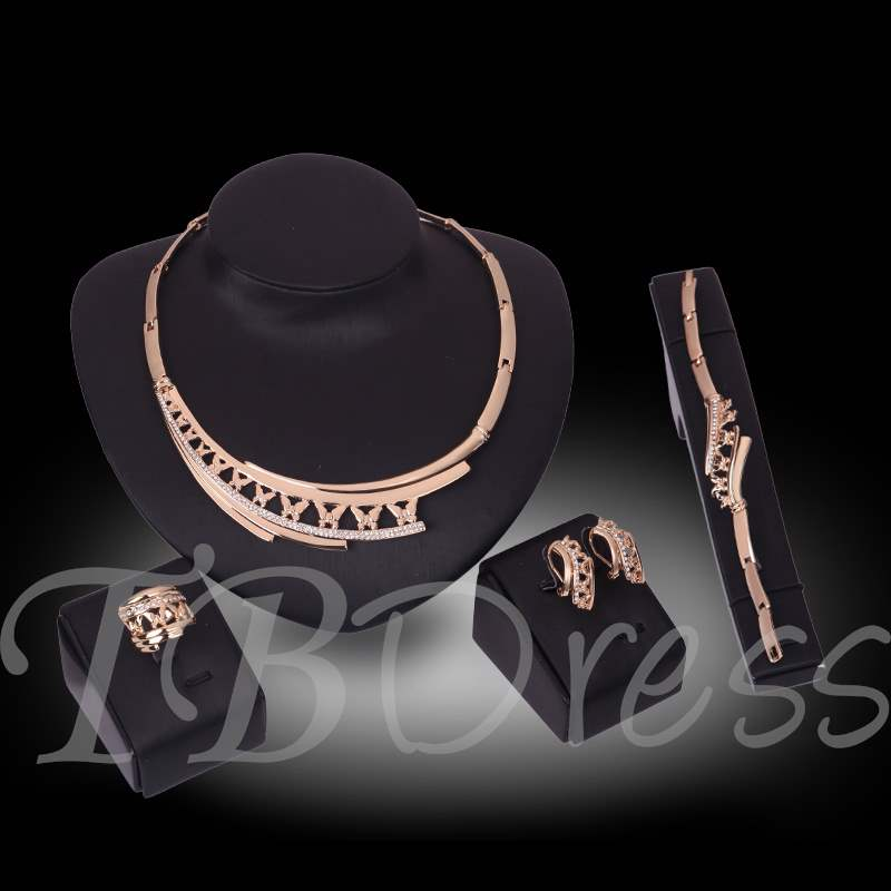 Hollow Out Diamante Four-Piece Jewelry Sets