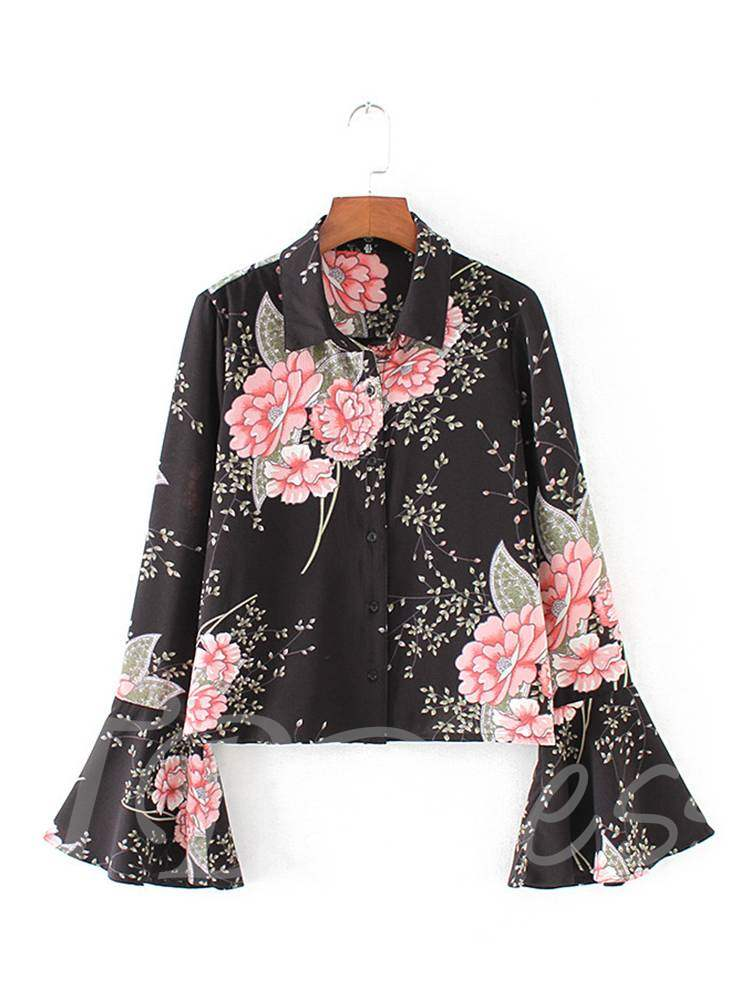 Buy Vintage Flare Sleeve Single-Breasted Women's Shirt, Spring,Fall, 13358508 for $13.97 in TBDress store