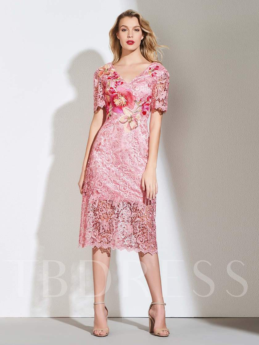 Short Sleeves Tea-Length Embroidery Lace Cocktail Dress