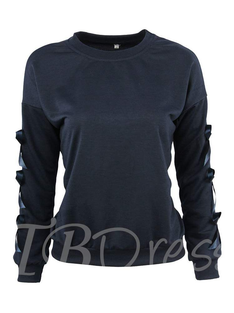 Buy Plain Solid Color Bowknot Long Sleeve Women's T Shirt, Spring,Fall, 13357748 for $10.66 in TBDress store