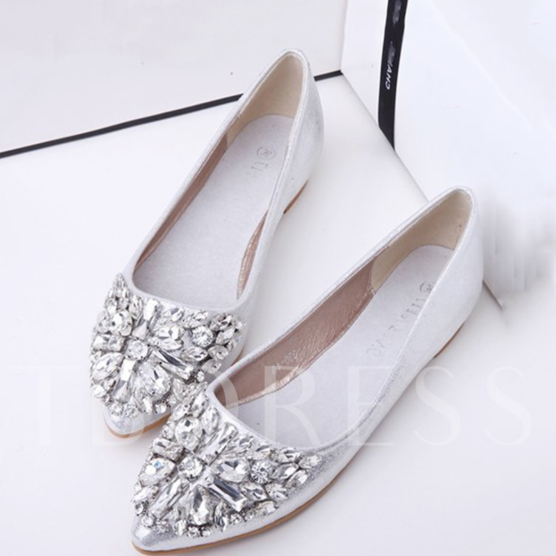 Buy Slip-On Pointed Toe Block Heel Rhinestone Sparkly Women's Flats, Spring,Summer,Fall, 13358400 for $32.35 in TBDress store