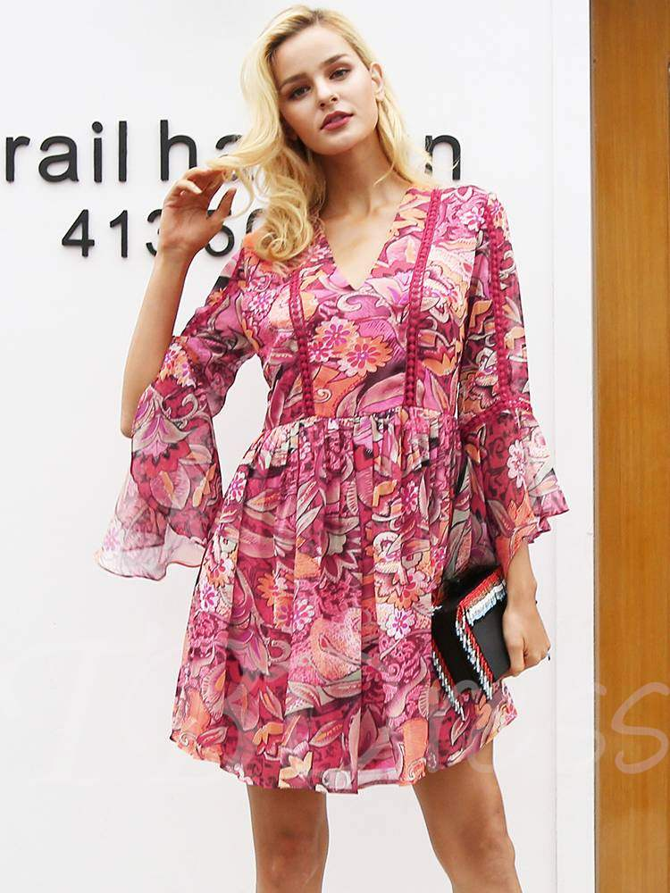 Buy Flare Sleeve Prints Chiffon Women's Day Dress, Fall, 13357958 for $21.69 in TBDress store
