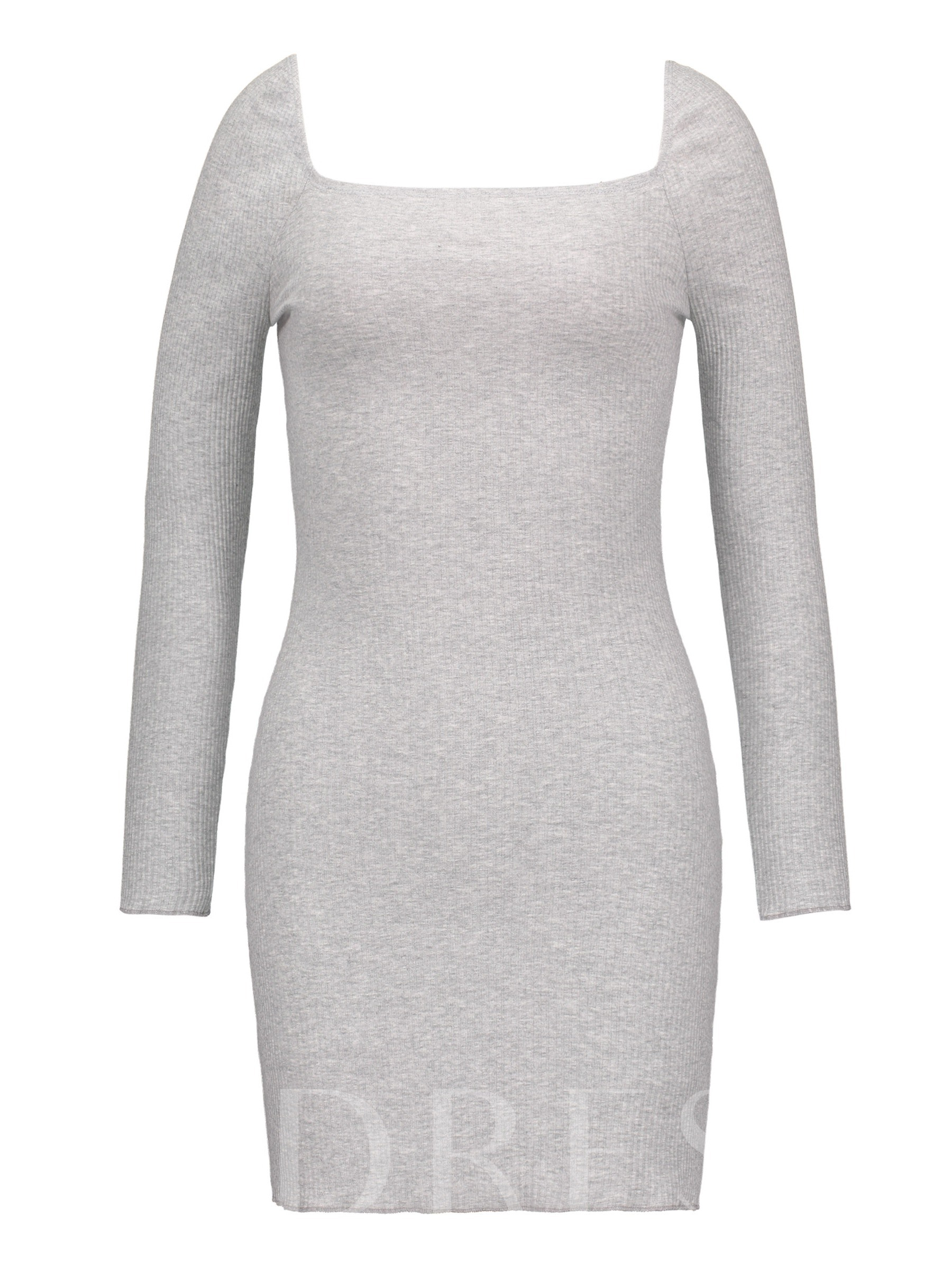 Buy Square Neck Long Sleeve Bodycon Dress, Spring,Fall, 13364506 for $13.97 in TBDress store