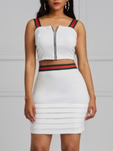 Color Block Vest Sexy Patchwork Off Shoulder Women's Two Piece Sets