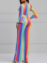 Falbala Color Block Stripe V-Neck Women's Two Piece Sets