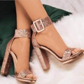 Line Style Buckle Heel Covering Summer Sandals