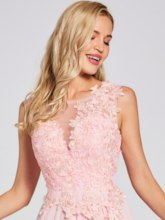 Scoop Lace Appliques A Line Evening Dress
