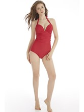 Halter Plain Lace Up Pleated One Piece Bathing Suits