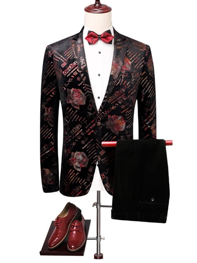 Flower Print Slim Men's Dress Suit