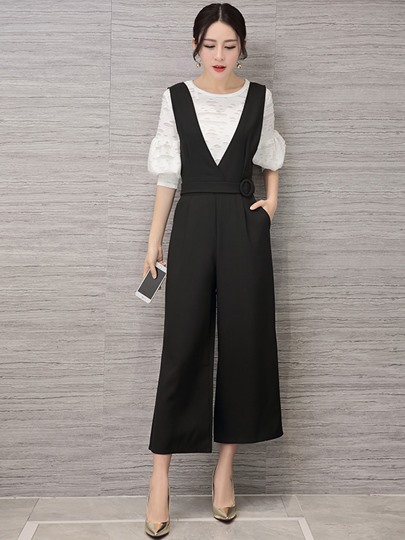 Plain Mesh Lantern Sleeve Top with Overall Women's Two Piece Set