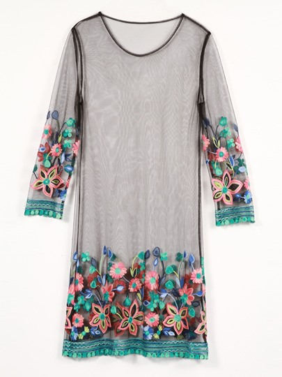 3/4 Length Sleeve Flower Embroidery Day Dress