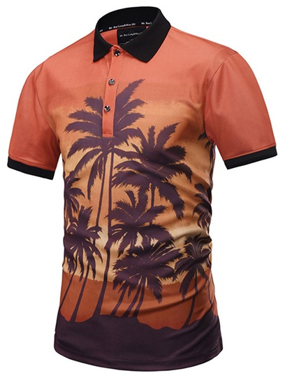 Hawaii Style Lapel Slim Men's Polo