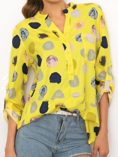 Polka Dot Print Pullover Loose Women's Blouse