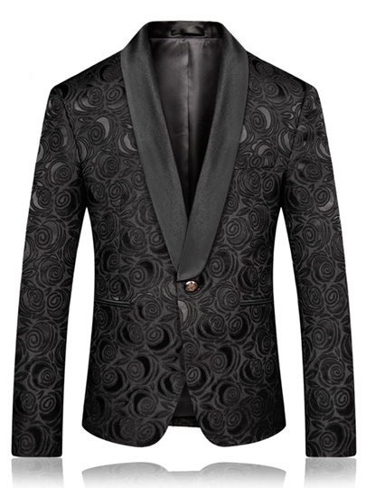 Floral Print Slim One Button Men's Blazer