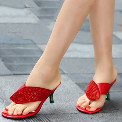 Plain Rhinestone Thong Heels Sandals High Slippers for Women