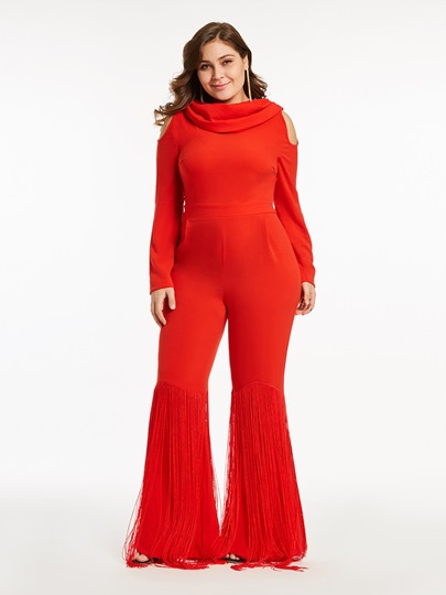 Plus Size Wide Legs Tassel Hollow Women's Jumpsuits