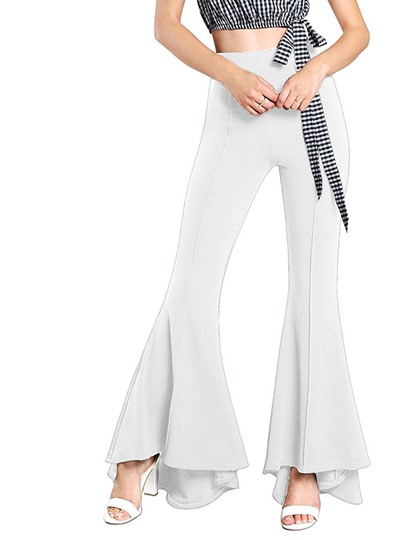 Plain Bell Bottom High Waist Women's Casual Pants