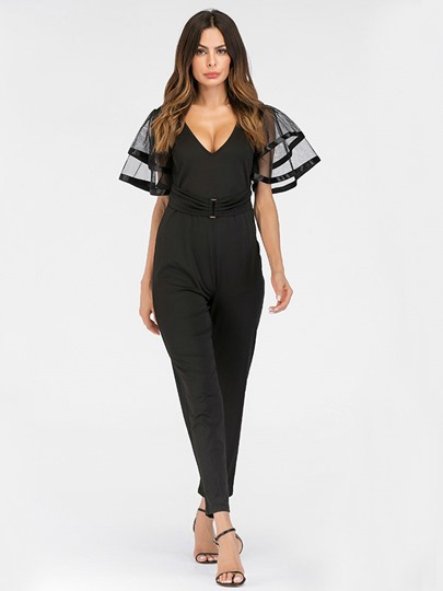 See Through Mesh Sleeve V Neck Women's Jumpsuit