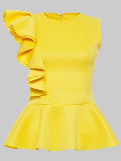 Falbala Sleeveless Peplum Yellow Women's Blouse