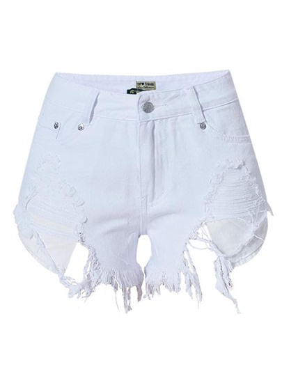 Frayed Hem Ripped Denim Women's Shorts