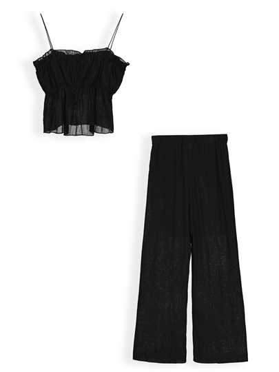 Plain Cami Top with Pants Women's Two Piece Set