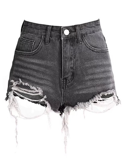 Denim Destroyed Frayed Women's Shorts