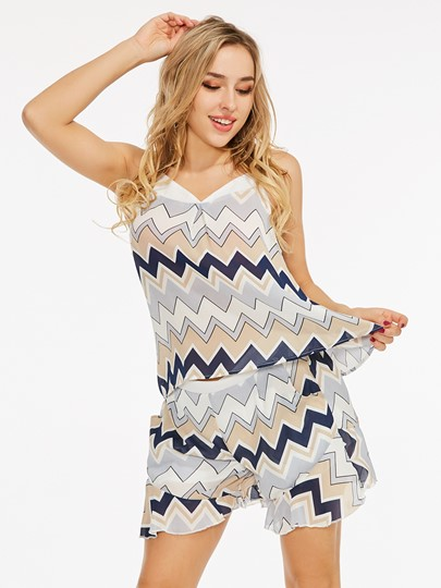 Geometric Pattern Cami Top with Shorts Women's Two Piece Set