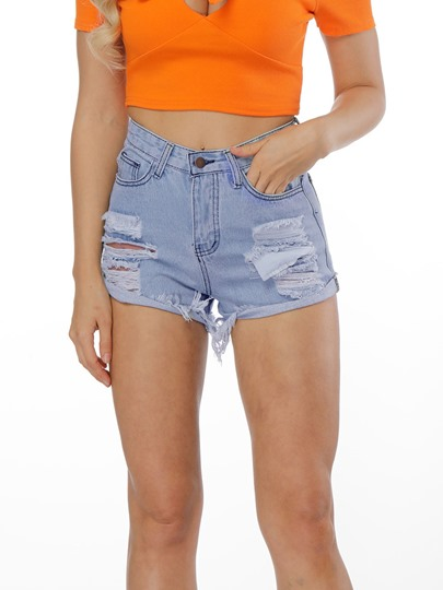 Destroyed Frayed Hem Women's Denim Shorts