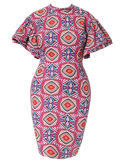 Plus Size Flare Sleeve Geo Prints Bodycon Dress