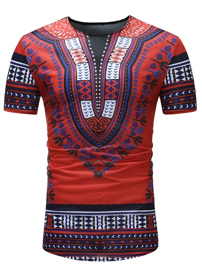 V-Neck Dashiki Style Slim Men's T-Shirt