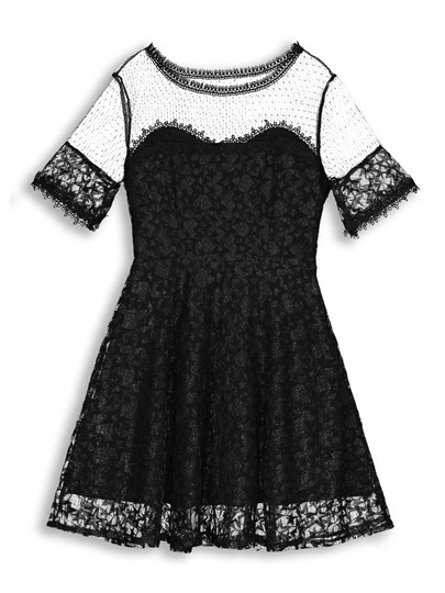 Round Neck Mesh Lace A-Line Dress
