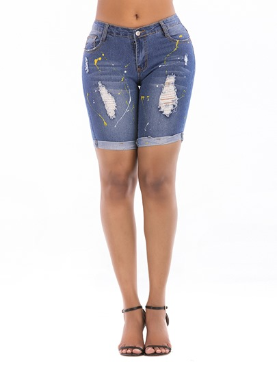 Hem Embroidery Print High Waist Women's Shorts