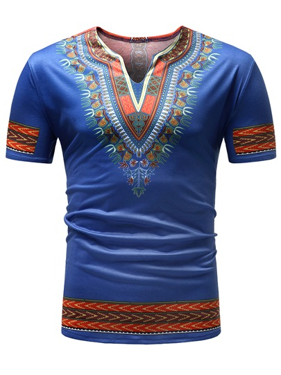 Ethnic Dashiki V-Neck Slim Men's T-Shirt