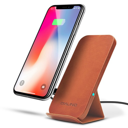 iPhoneX Fast Wireless Charger Vertical Leather
