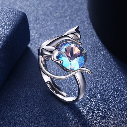 Cat Shape 925 Silver Plated Alloy Ring