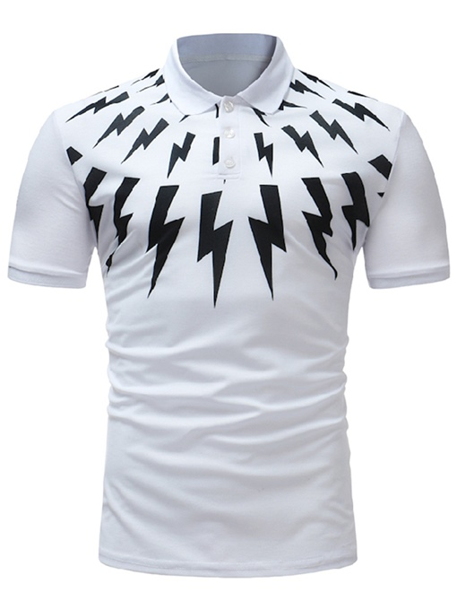 Lapel Print Slim Men's Polo