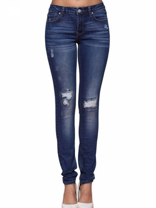 Denim Hole Slim Fit Women's Jeans