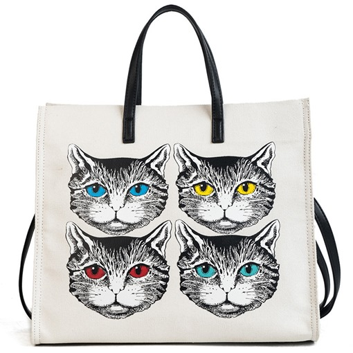 Big Capacity Cat Canvas Women Tote Bag