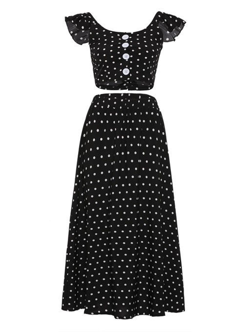Polka Dot Ruffle Top And Pants Women's Two Piece Dress