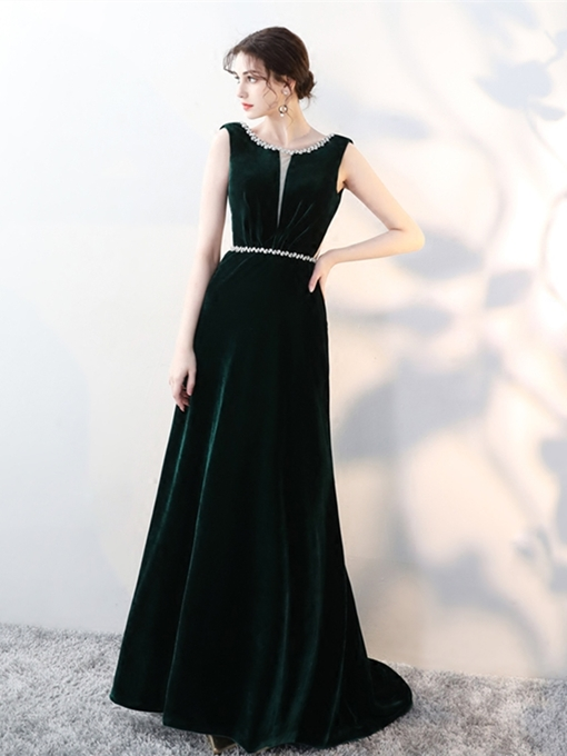 Scoop A-Line Beading Velvet Evening Dress
