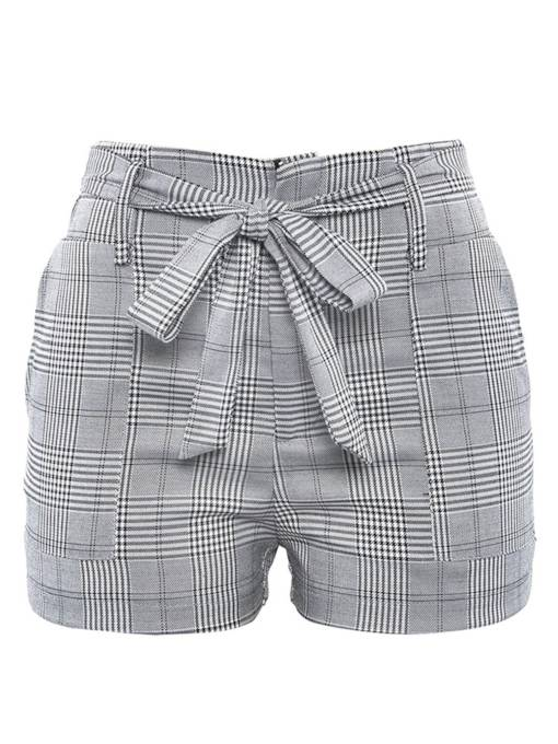 Houndstooth High Waist Lace-Up Women's Shorts