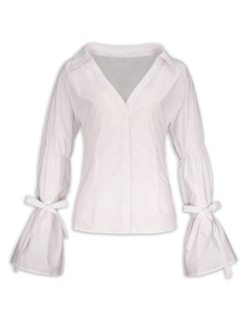 Single-Breasted V-Neck Lapel Heap Sleeve Women's Blouse