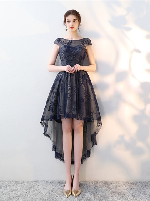 A-Line Bateau Lace Asymmetry Cocktail Dresss