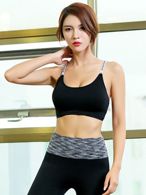Letter Strap Yoga Fitness Bra Quick-dry Sports Underwear