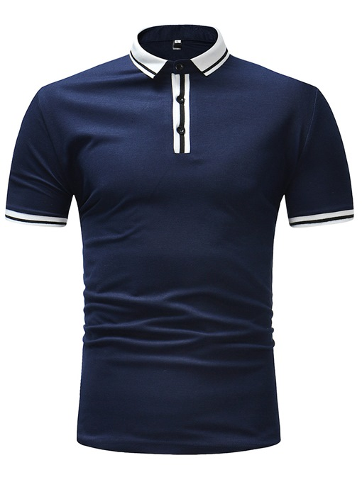Lapel Color Block Slim Leisure Men's Polo