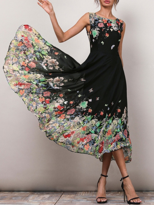 Floral Print Sleeveless Ciffon Day Dress